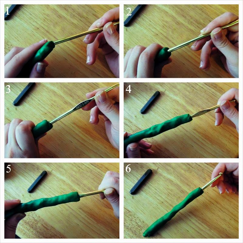 Putting clay on your crochet hook