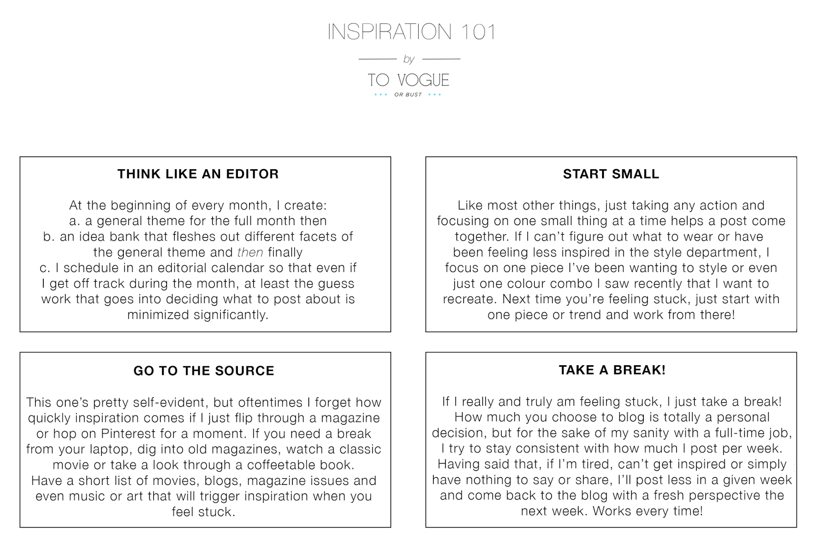 blogging tips, to vogue or bust, vancouver style blog, vancouver fashion blog, vancouver fashion, canadian fashion blog, alexandra grant, how to get inspiration for your blog