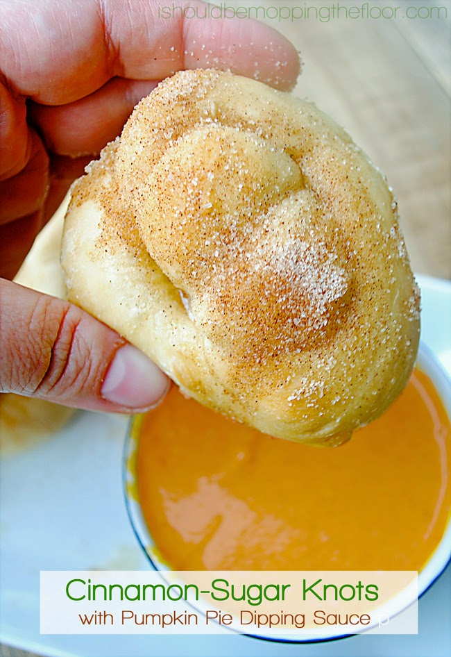 Cinnamon-Sugar Knots with Pumpkin Pie Dipping Sauce | These start out from simple frozen bread dough for easy prep!