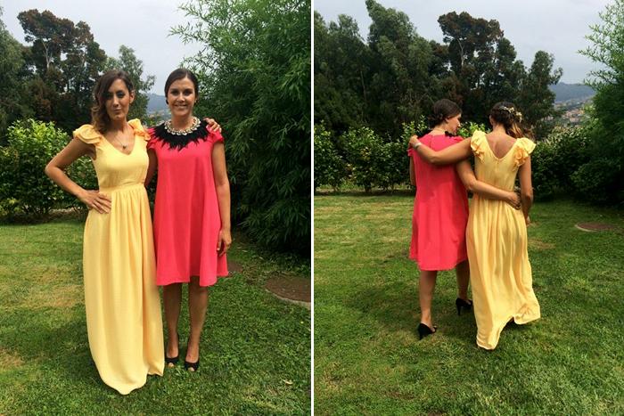 Invitada perfecta boda, comunión. Vestido rojo corto. Vestido amarillo largo. La Böcöque