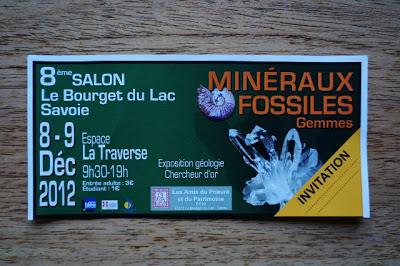bulletin d'invitation avec les infos sur le 8ème salon des minéraux et fossiles du Bourget du lac