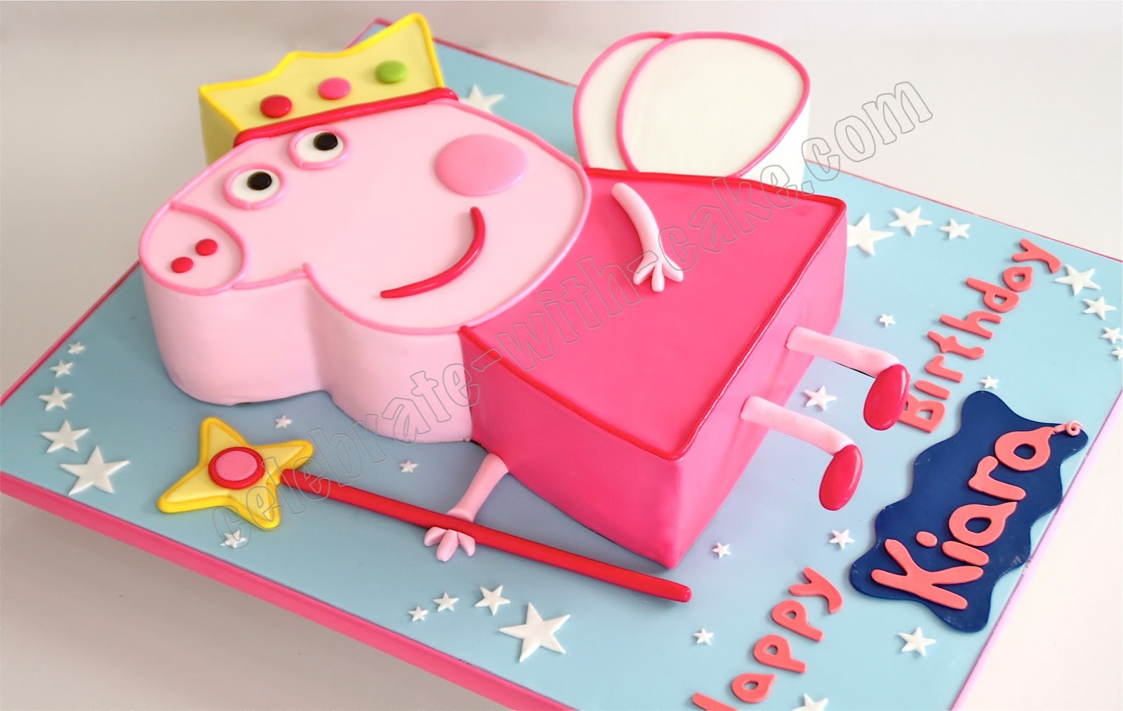 Celebrate with cake fairy princess peppa pig cake for Peppa pig cake template free