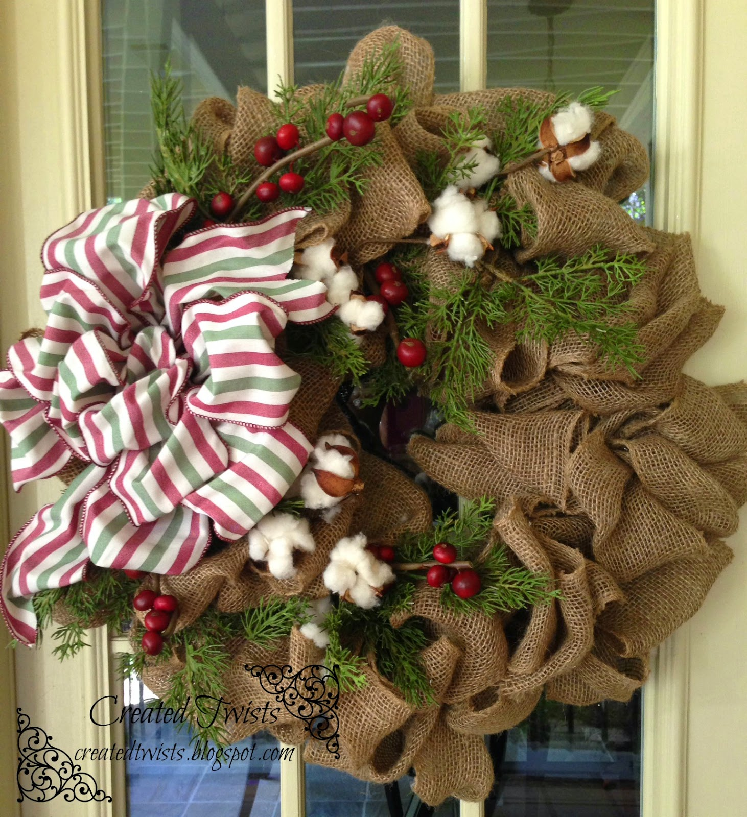 burlap christmas wreath with cotton pine and berries - Burlap Christmas Wreath