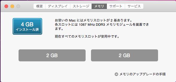 Macのメモリ確認