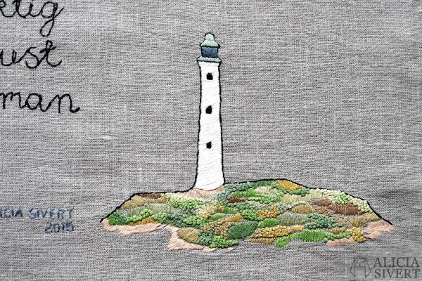 aliciasivert, alicia sivert, alicia sivertsson, tove jansson, höstvisa, nu ser vi alla fyrar kring höstens långa kust och hör vågorna villsamma vandra en enda sak är viktig och det är hjärtats lust och att få vara samman med varandra, free embroidery, fritt broderi, needlework, hand embroidery, hoop art, french knots, franska knutar, fyr, ö, citat, quote, handicraft, craft, art, konst, hantverk, konsthantverk, skapa, skapande, kreativitet, creativity, create