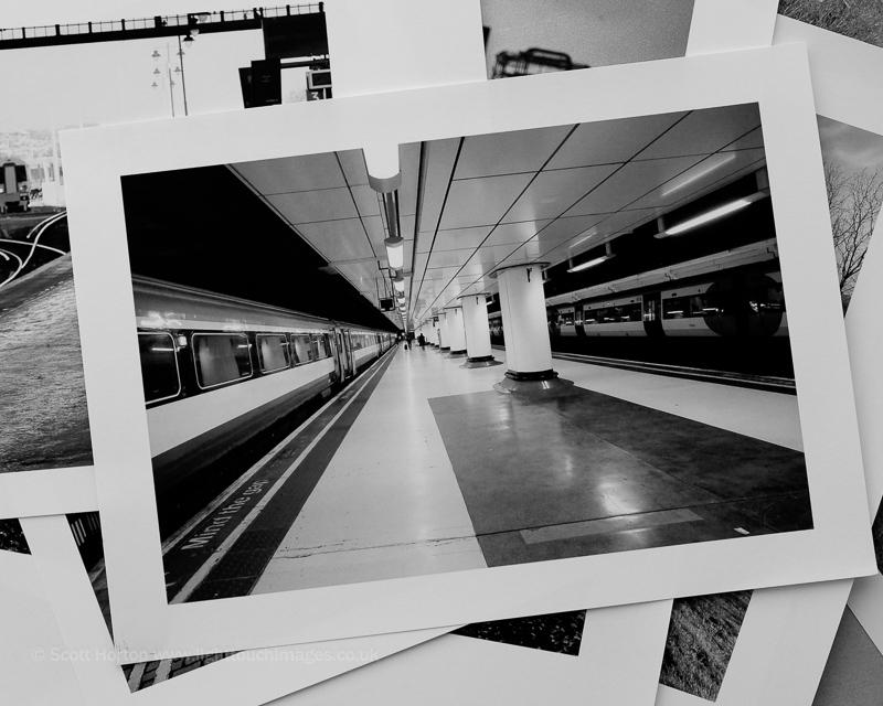 Victoria Station platform monochrome print
