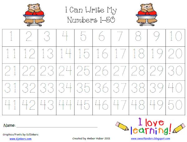 Number Tracing Worksheets 1 50 - free printable number tracing ...