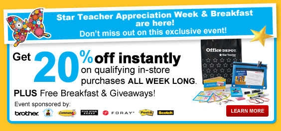 Office Depot offers some of the lowest supplies on office supplies, paper, ink, toner, technology, and more. Teachers can save even more with this special rewards program! Teacher Discount. Teachers can save with 2% back rewards, members-only savings, recycling rewards, & more. Clearance/5.