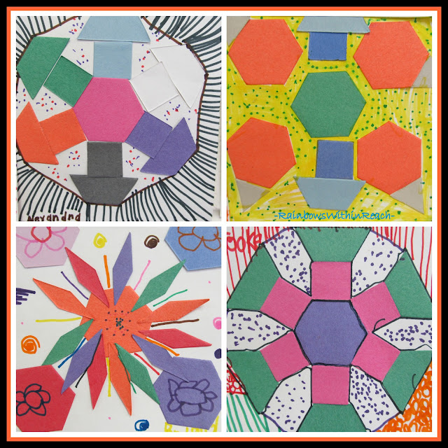 photo of: Kindergarten Geometric Art Response to Debbie Clement's Author Illustrator School Visit