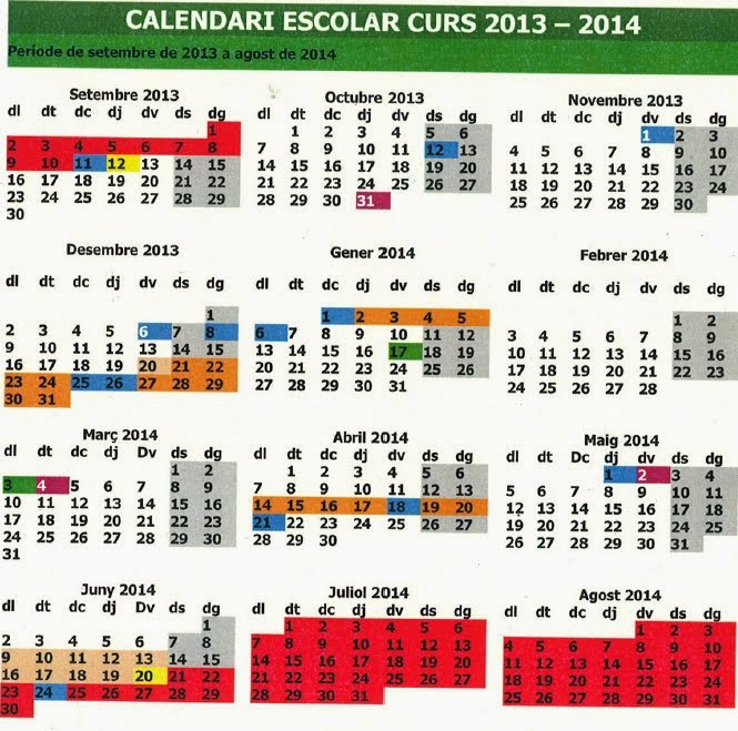 CALENDARI CURS 2013/14