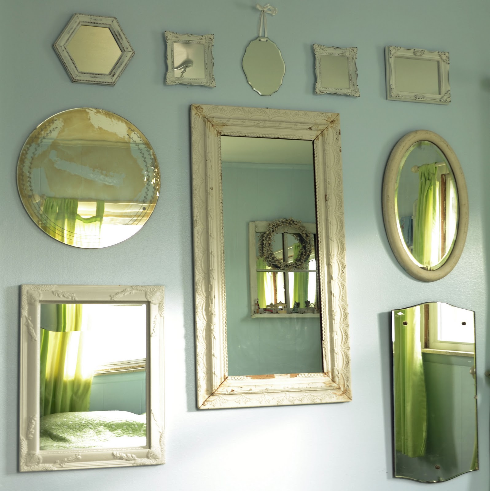 Shabby love wall of mirrors for Mirror on a wall