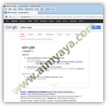 Gambar: Contoh Hasil penelusuran google untuk define simple