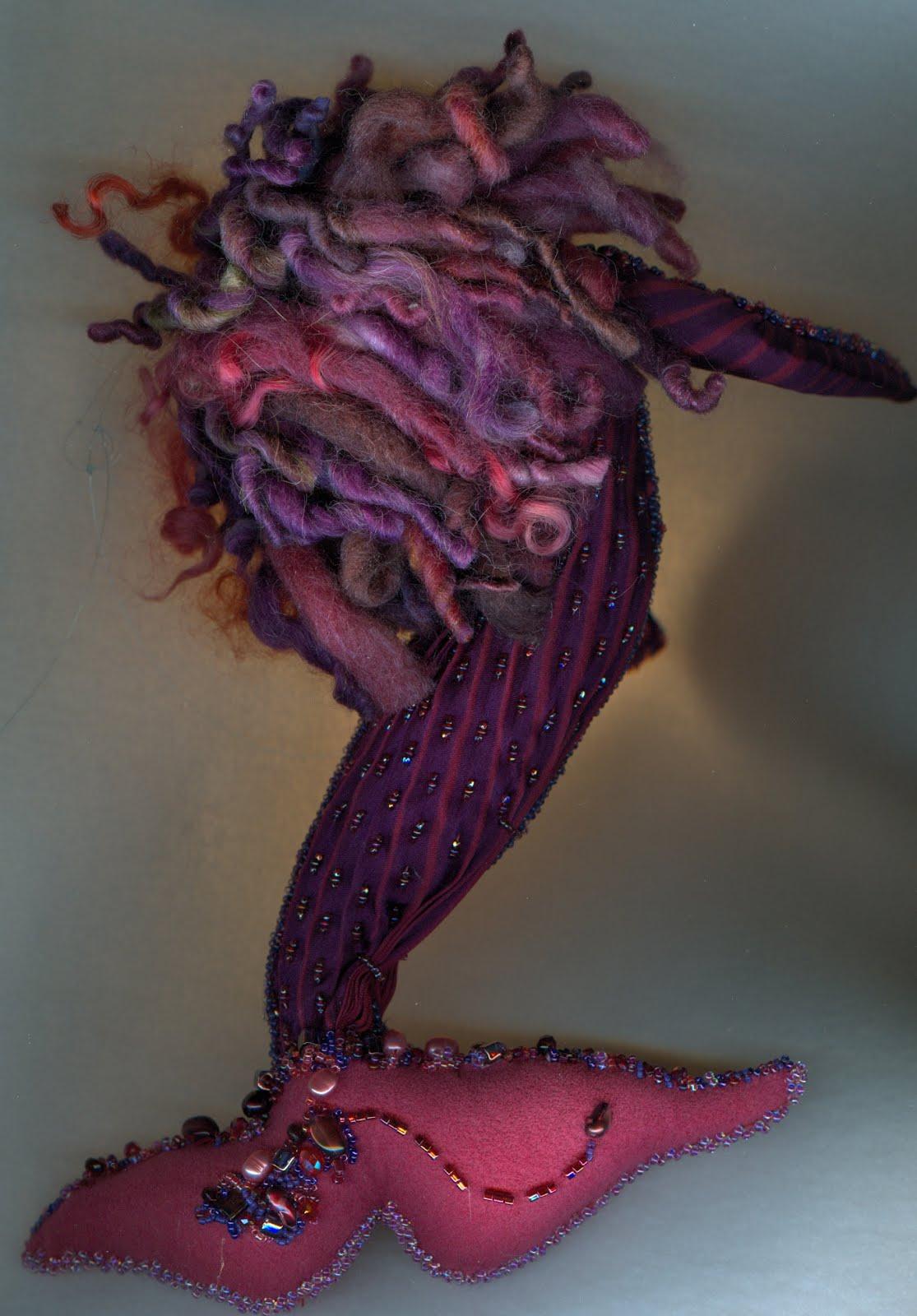2018 purple mermaid with wool hair back view