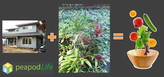 Home plus EcoSystem equals Organic Food, image montage by peapodLife