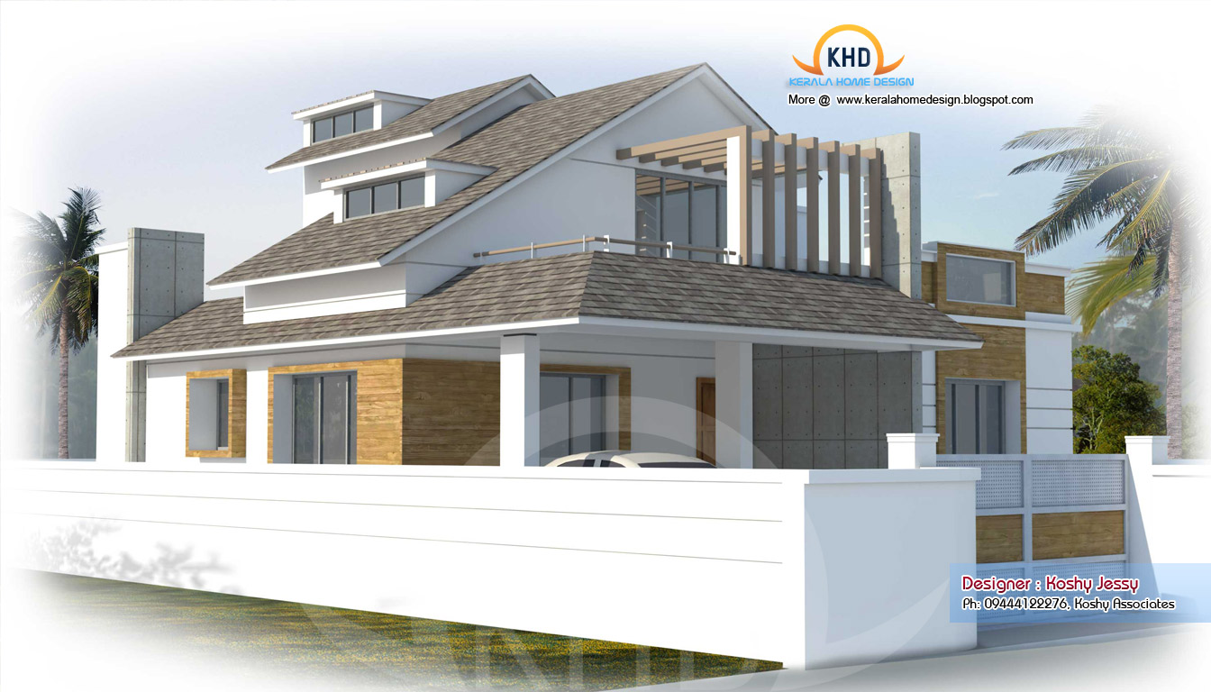 Modern house plan 2000 sq ft kerala home design and for Modern square house plans