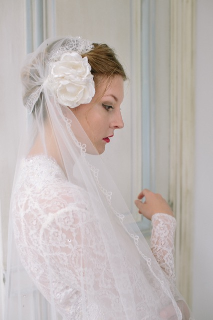 Vintage inspired cloche veil in lace, from Heavenly Vintage Brides - side view with silk rose
