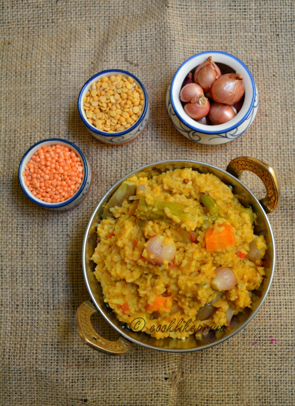 Easy mixed vegetable sambar rice