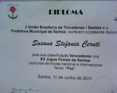 """Diploma Premio al """"Vencedor"""" de Trovadores"""