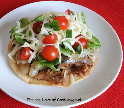 Shredded Pork and Caramelized Onion Tostada