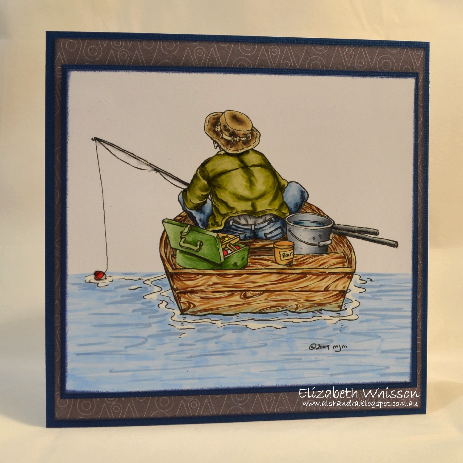 Elizabeth Whisson, Mo Manning, digi stamp, Fishing, Copic, Copic sketch, boating, handmade card