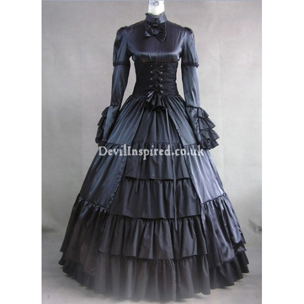 Classic Black Bow and Ruffle Gothic Victorian Dress