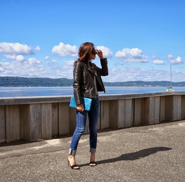 Side view wearing Mango moto jacket, tank, Rag & Bone boyfriend jeans, Joie heels on a beautiful Fall day
