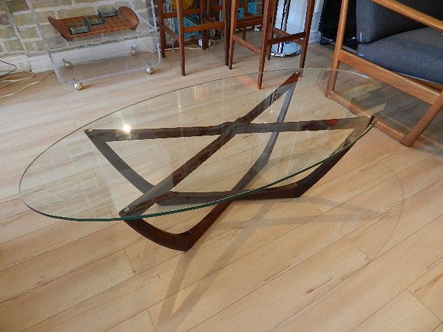 zig zag: teak & glass coffee table - sold