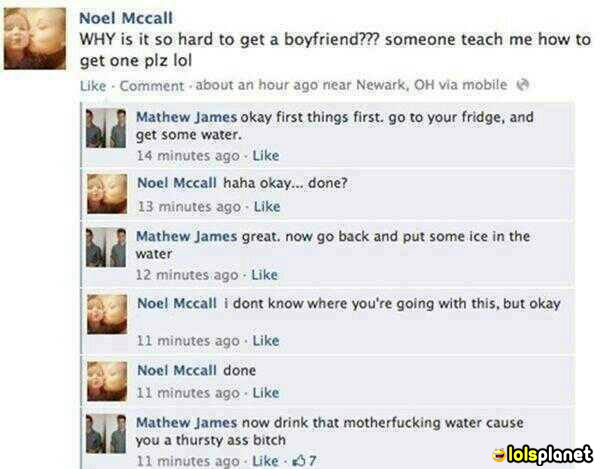 The girl just got trolled by the boy in comments. True story of girl. Burn by the boy's comments. funny picture.fail