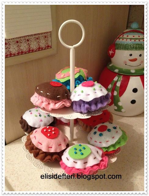 keçe cupcake yapılışı