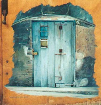 Pinturas cuadros lienzos puertas de casa viejas al oleo - Puertas viejas de madera ...