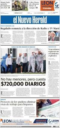 PRIMERA PAGINA DE EL NUEVO HERALD  DE MIAMI