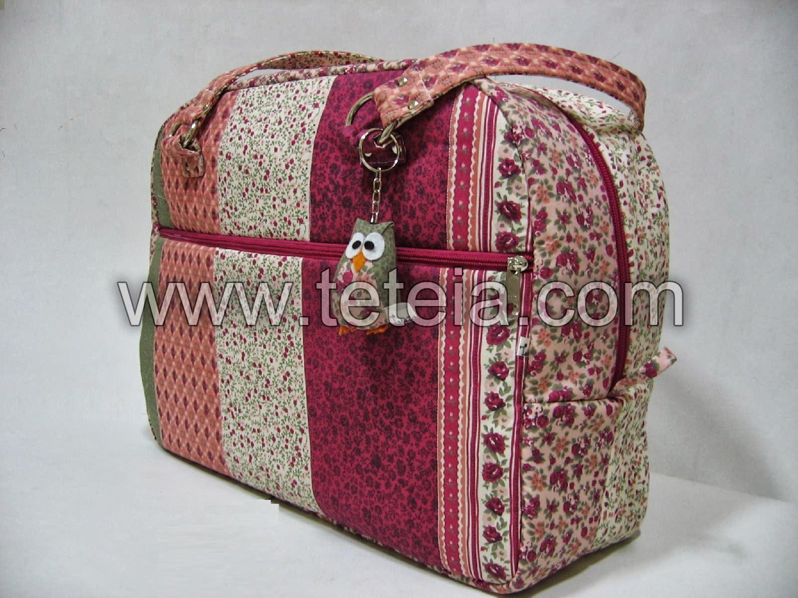 Bolsa Manicure Passo A Passo : Tet?ia patchwork maleta de viagem faixas rosa