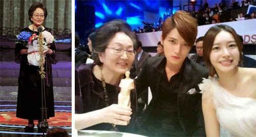 Young Ok winning the Lifetime Achievement Award at the 2011 SBS Drama Awards / Young Ok poses with Protect the Boss co-stars, Kim Jae Joong 김재중 and Wang Ji Hye 왕지혜.