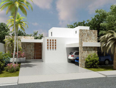 Fachadas minimalistas hermosa residencia con fachada for Piedras para fachadas minimalistas