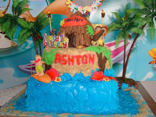 Littlestarcreations Three Tiered Hawaiian Luau Birthday Cake