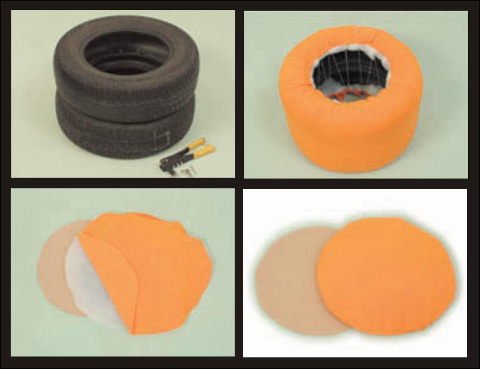 Tutorial de artesan as puff con neum ticos - Puff con ruedas ...
