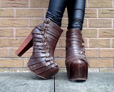 Jeffrey Campbell Wrecker platforms in brown