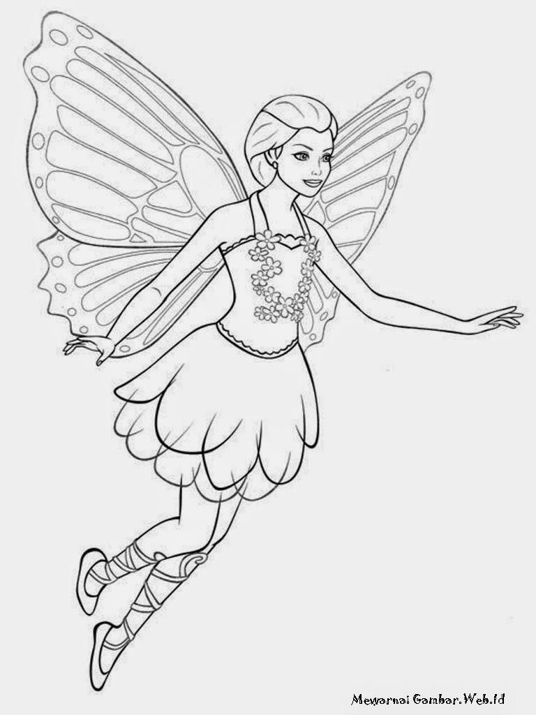 Halaman Mewarnai Barbie Mariposa Untuk Anak Perempuan