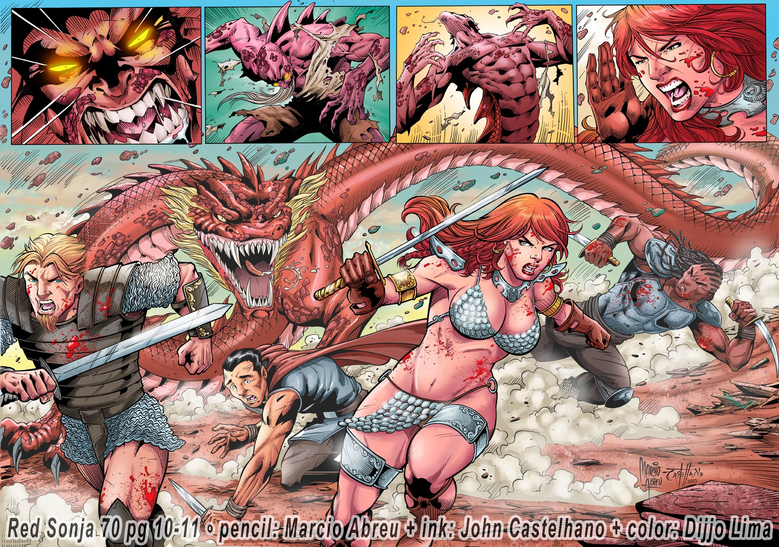 Red Sonja 70 Pg 10 - 11 by  Pencil: Marcio Abreu -  Digital Ink: Mine (John Castelhano)  - Digital Color: Dijjo Lima