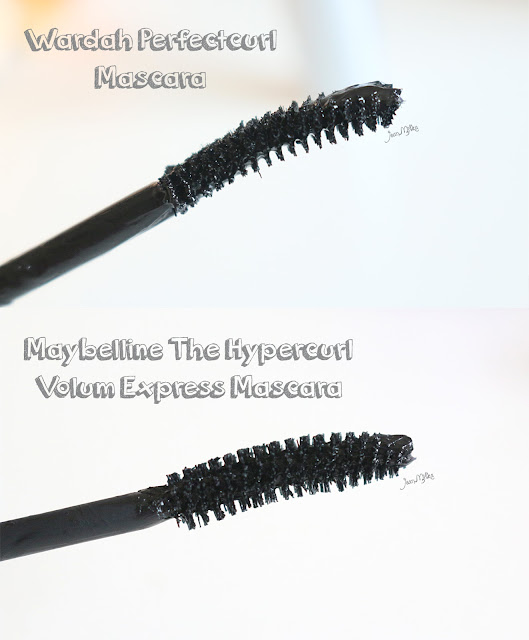 maybelline, hypercurl, wardah, perfectcurl, mascara, review, comparison