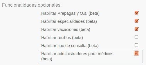 Habilitación del módulo de administradores para médicos