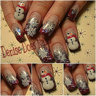 snowflake and snowman nail art