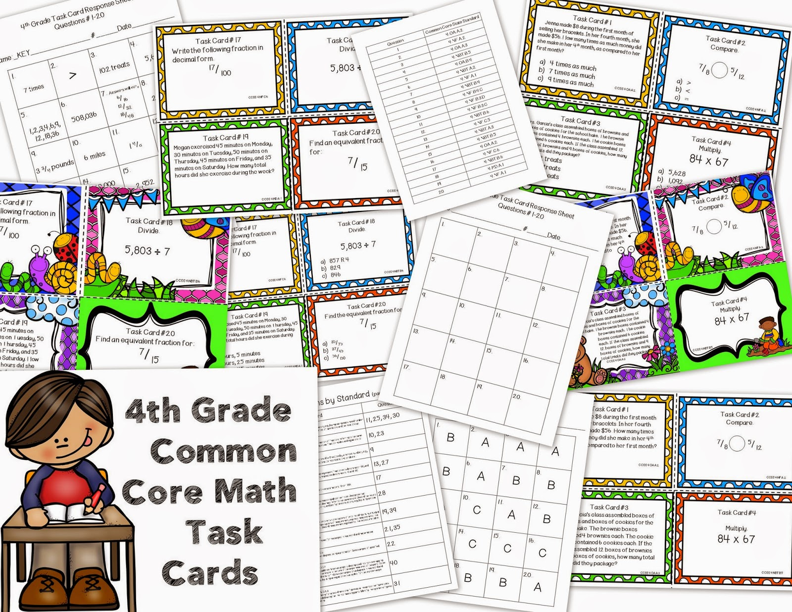 4th Grade Math Common Core Task Cards