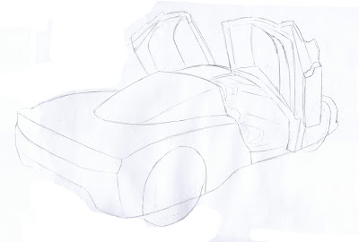 draw ferrari enzo rough sketch draft