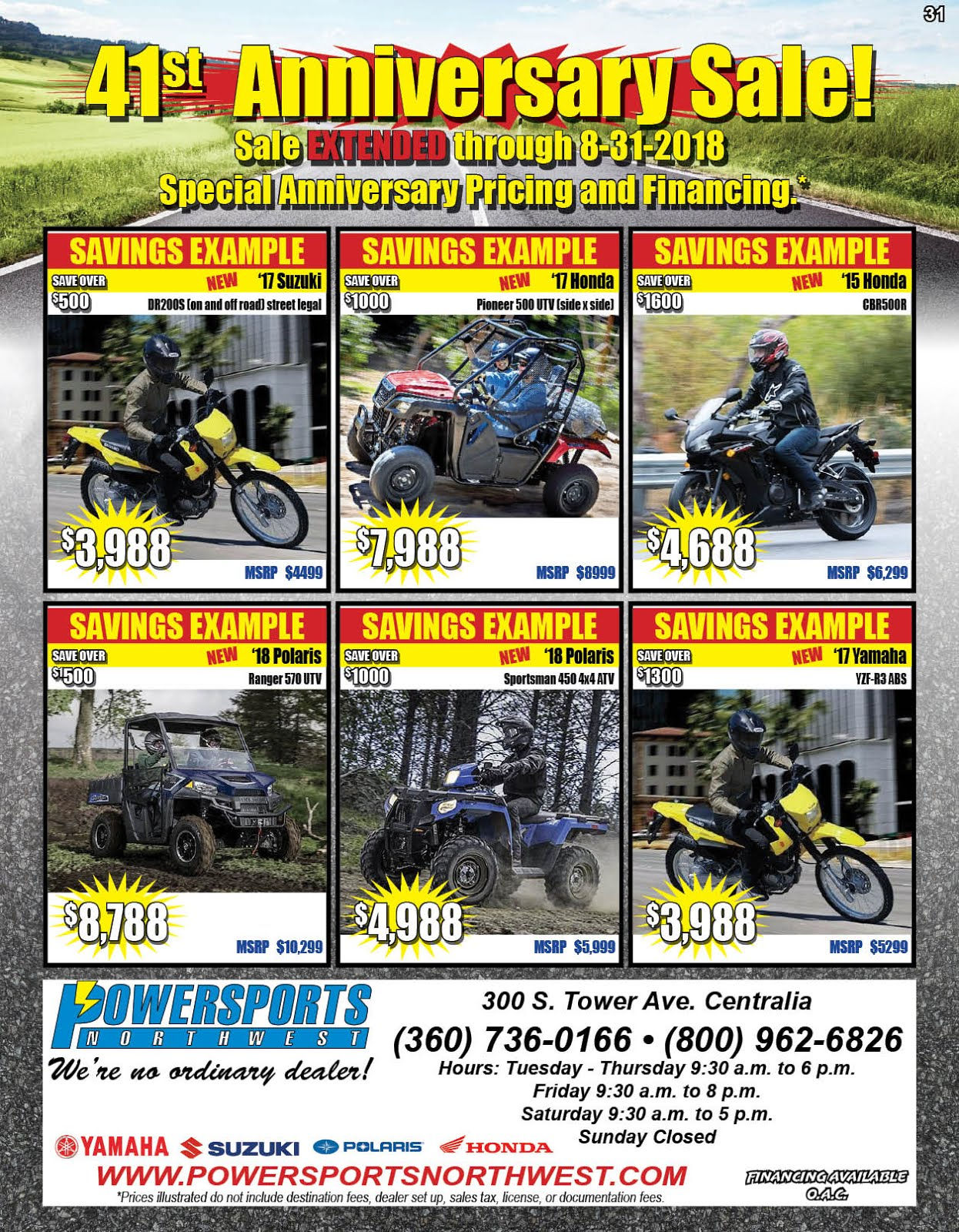 Powersports Northwest 41st Anniversary Sale EXTENDED!!