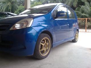 kereta, viva, biru, rosak