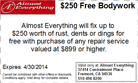 Coupon Almost Everything $250 Free Bodywork Discount April 2014