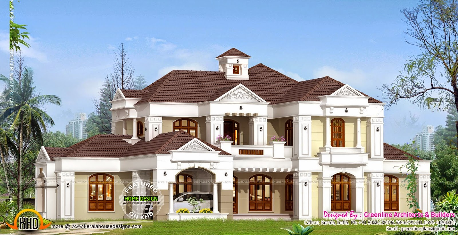 Luxury villa exterior kerala home design and floor plans for Colonial style home design in kerala