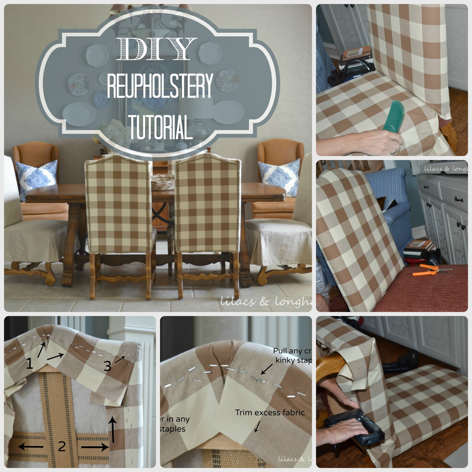 Reupholstered Dining Room Chairs from Julie at Lilacs & Longhorns ...