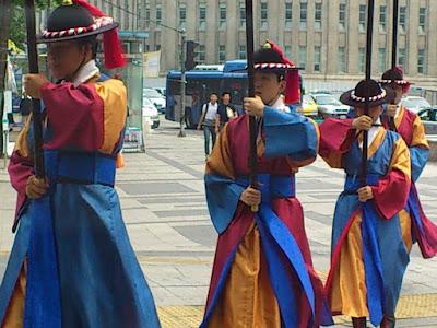 Close up view of the royal guards at Deoksugung Palace